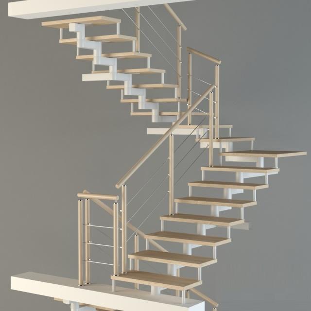 Макет модульной лестницы с первого на третий этаж