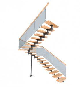 Модульная лестница со стеклянным ограждением